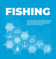 fishing background with icons and signs vector image vector image