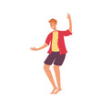 flat young man dancing at beach party vector image vector image