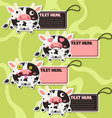 Four cute cartoon Cows stickers vector image