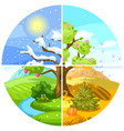 four seasons landscape with trees vector image vector image