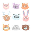 funny cute animals in glasses face vector image vector image