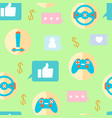 gamer gaming cartoon seamless pattern vector image vector image