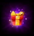 gift box game interface icon on black background vector image vector image