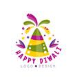 happy diwali logo design festival of lights vector image vector image