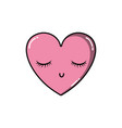 heart kawaii symbol of love with closed eyes vector image