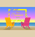 hot summer days poster with sunbeds on beach frame vector image vector image