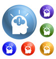 idea brainstorming icons set vector image vector image