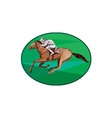 Jockey Horse Racing Oval Low Polygon vector image vector image