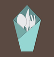 Knife Fork Spoon Set In Table Napkin vector image vector image
