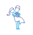 line happy couple married and man carrying his vector image vector image