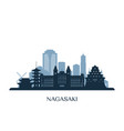 nagasaki skyline monochrome silhouette vector image vector image