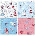 nautical sea backgrounds - set seamless pattern vector image