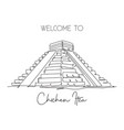 one continuous line drawing chichen itza mayan vector image
