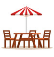 picnic table with umbrella scene vector image