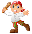 Pirate kid holding a wooden sword vector image
