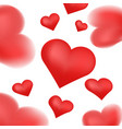 realistic 3d colorful red valentine hearts vector image vector image
