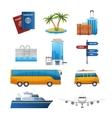 Realistic travel tourism icons set vector image