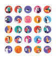 romance stories flat icons vector image vector image