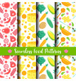 seamless pattern with food healthy vegetables vector image