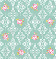 seamless pattern with pink roses and damask vector image vector image