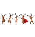 set cartoons deers in different poses reindeers vector image