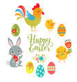 set cute easter design elements vector image vector image