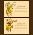 set of autumn poster yellow orange leaves decor vector image vector image