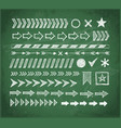 set of doodle arrow dividers pointers danger vector image