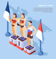 sport run winners isometric composition vector image vector image