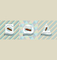 three colored labels with kebab vector image vector image