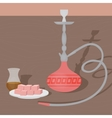 Traditional oriental hookah with turkish tea and vector image
