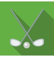 Two crossed golf clubs and a ball icon flat style vector image vector image