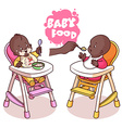 Two kids in baby highchair with plate of porridge vector image vector image