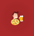 Young Man with Pizza and Pint of Beer vector image