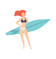 young woman standing with surfboard young woman vector image vector image