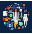 Space Icons Set with Planets Stars and Astronaut vector image
