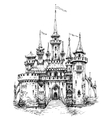 castle front view Pencil hand drawing ready to vector image