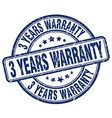 3 years warranty blue grunge round vintage rubber vector image vector image