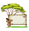 A beaver and a bee beside a blank signage vector image vector image