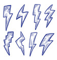 art scribble lightning symbol sketch icon set vector image