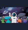 astronaut and alien scene vector image vector image