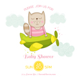 Baby Girl Cat Flying on a Plane Baby Shower Card vector image vector image
