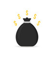 black money bag icon with shadow vector image vector image