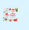 blue flat lay christmas card vector image