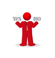 Busines man person presents yes and no words vector image vector image