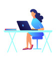 business woman with dark hair working on laptop vector image