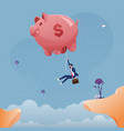 businessman hanging on a large piggy bank balloon vector image vector image