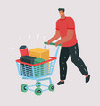 buying items on sale man with shopping cart vector image vector image