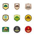 camp logo emblem set flat style vector image