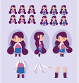 cartoon character animation little girl some parts vector image